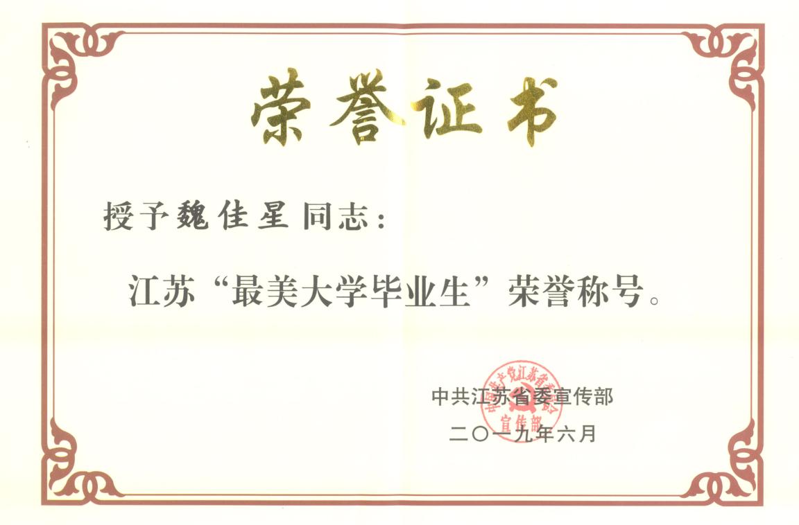 """我校毕业生魏佳星被授予江苏"""""""